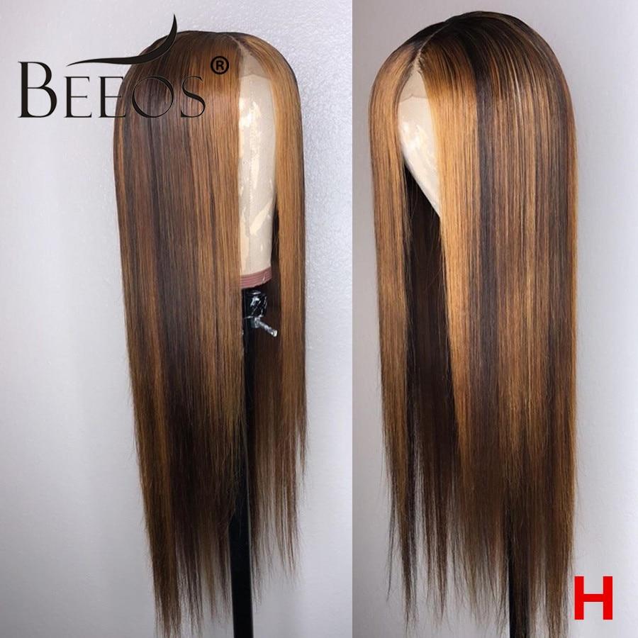 Peluca de pelo humano BeOS 13x4 180% con encaje frontal, peluca recta con reflejos rubio miel marrón 1b30 pelucas de encaje Remy brasileño pre-desplumadas