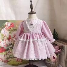 0-7Y Sonbahar Kış Vintage İspanyol Elbise ponpon top Elbise Prenses Elbise Lolita Parti Elbise Bebek Kız Uzun Kollu Yay Elbise
