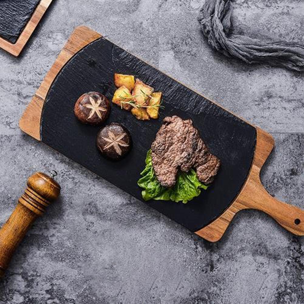خشب متين صينية وجبات خفيفة خشبية صينية الحجر الاسود المشكل لوحة السنط الخشب ملفوفة لوحة الغربية اليابانية الغذاء لوحة المطبخ الديكور