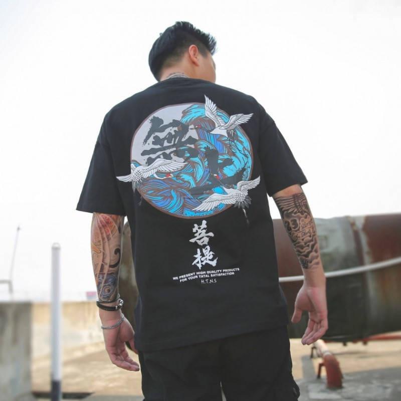 Japonés Harajuku ropa de calle de estilo urbano estilo camisetas de manga corta de Hip Hop de algodón Casual Junji Ito hombres Cool Oversize Anime camisetas
