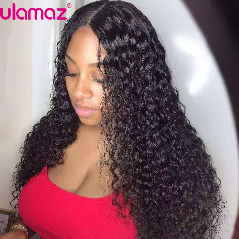 AliExpress - 360 Lace Frontal Wig 13X4 Water Wave Lace Front Wig Curly Lace Front Human Hair Wigs For Women Transparen 4×4 Closure Wig Ulamaz