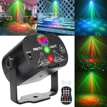 Mini lumière Disco rvb DJ LED Laser projecteur de scène rouge bleu vert lampe USB Rechargeable mariage fête d'anniversaire DJ lampe