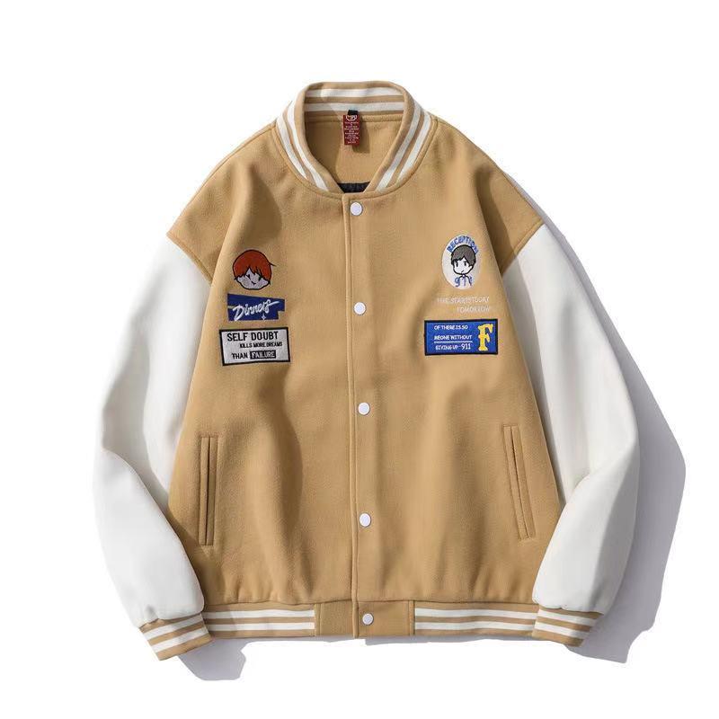 2020 americano retro distintivo bordado jaqueta de beisebol na moda hip hop rua casal amoroso cor casaco correspondente