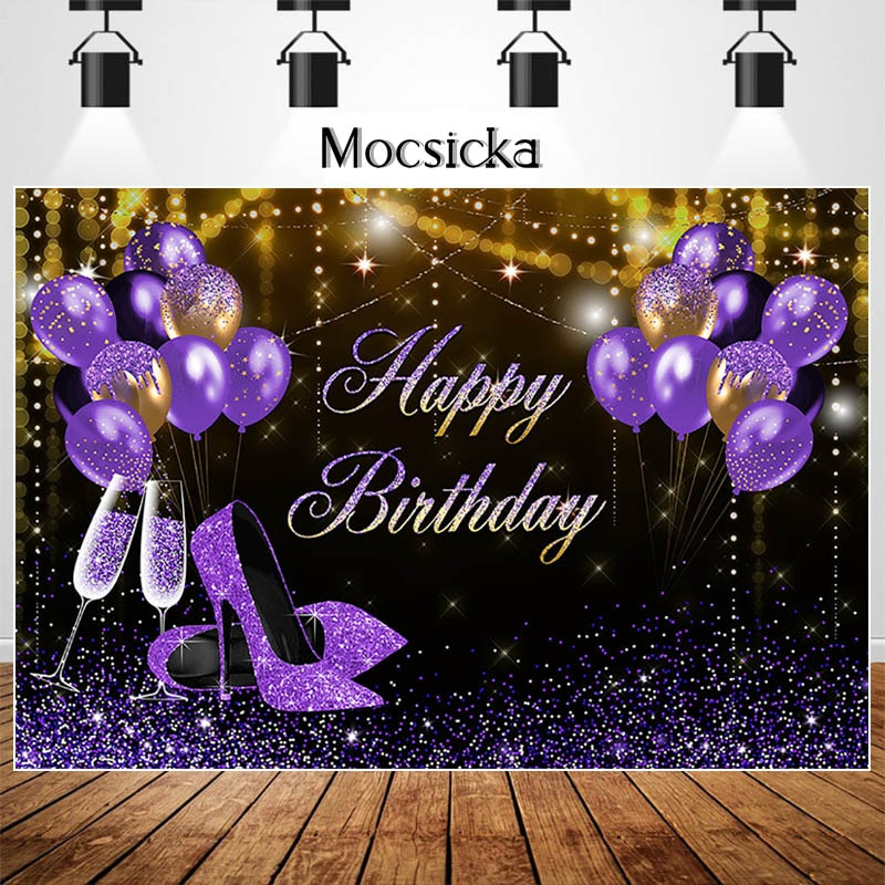 Mocsicka Happy Birthday Backdrop Glitter Purple High Heel Balloon Decor Banner Customize Birthday Party Photography Background