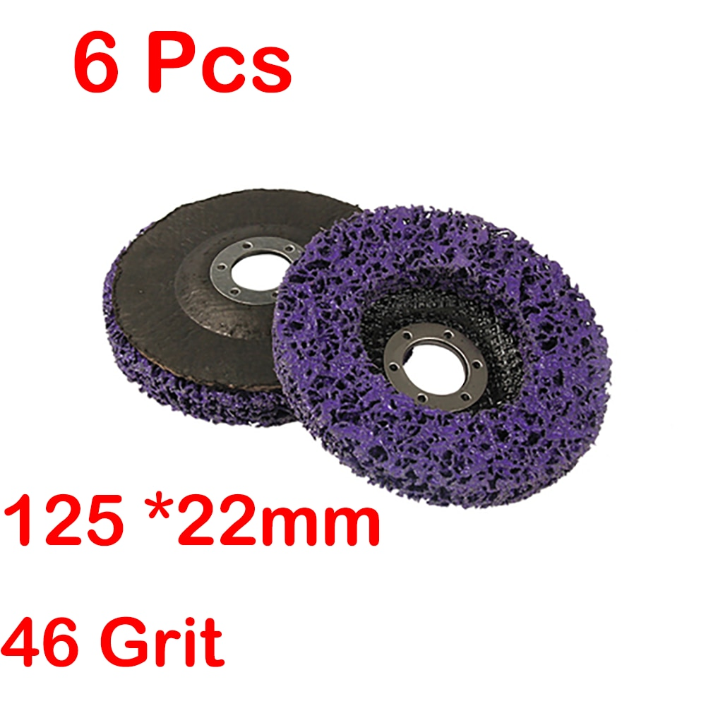 6 stks / set 100 * 16mm / 125 * 22mm / 115 * 22mm poly strip disc schurende wiel verf roest verwijderen schoon voor haakse slijper 46 grit