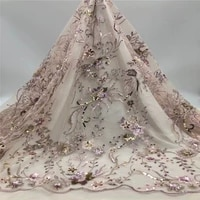 2020 high quality handmade beads lace luxury nigerian beaded lace french tulle lace fabrics with sequins for wedding jh19 98