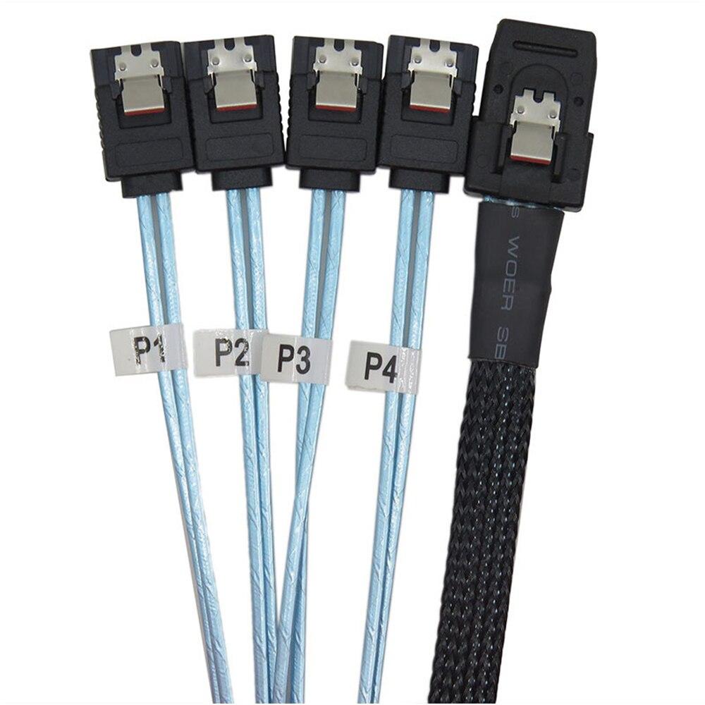 Interior de 12gbps HD Mini SAS SFF-8087 a 4 X SATA Cable para disco duro Cable HD Mini Host SAS/controlador 4 SATA de datos de disco duro