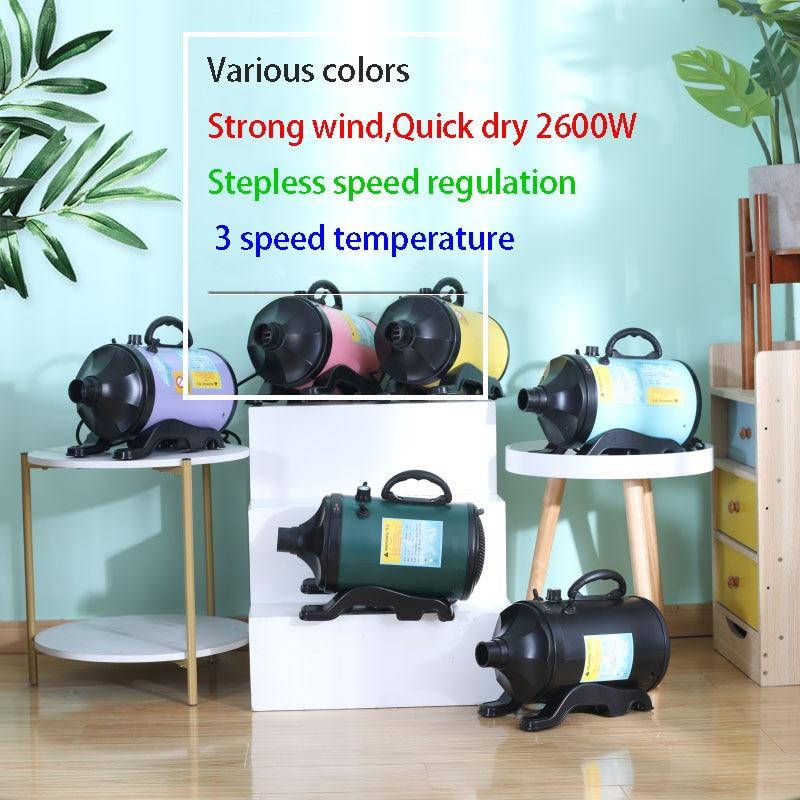 Pet hair dryer 2600W High power Pet shop Hair drying machine Cat dog bath water blower Large dog hair blower Speed adjusting enlarge