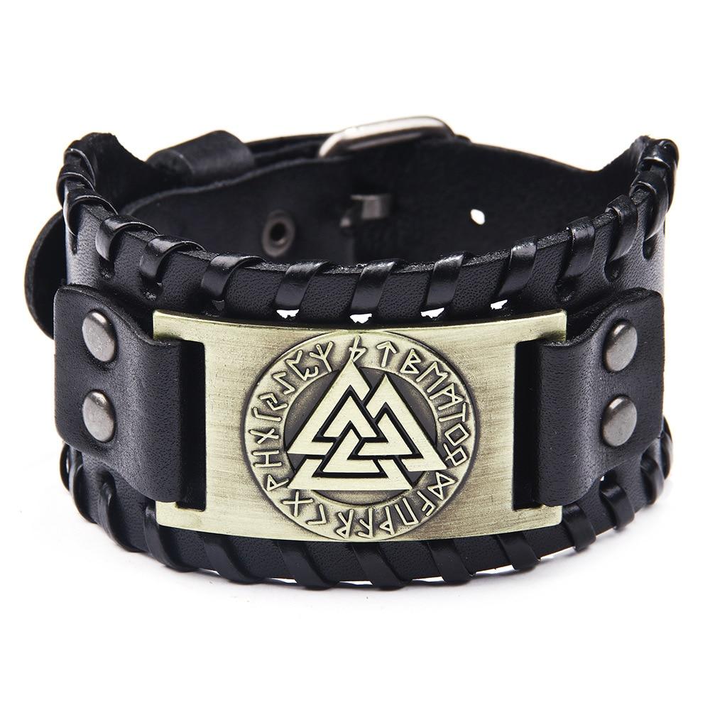 Joker retro nordic viking totem pulseira odin logotipo pulseira de couro rune alfabeto liga jóias dos homens pulseiras pandora pulseira
