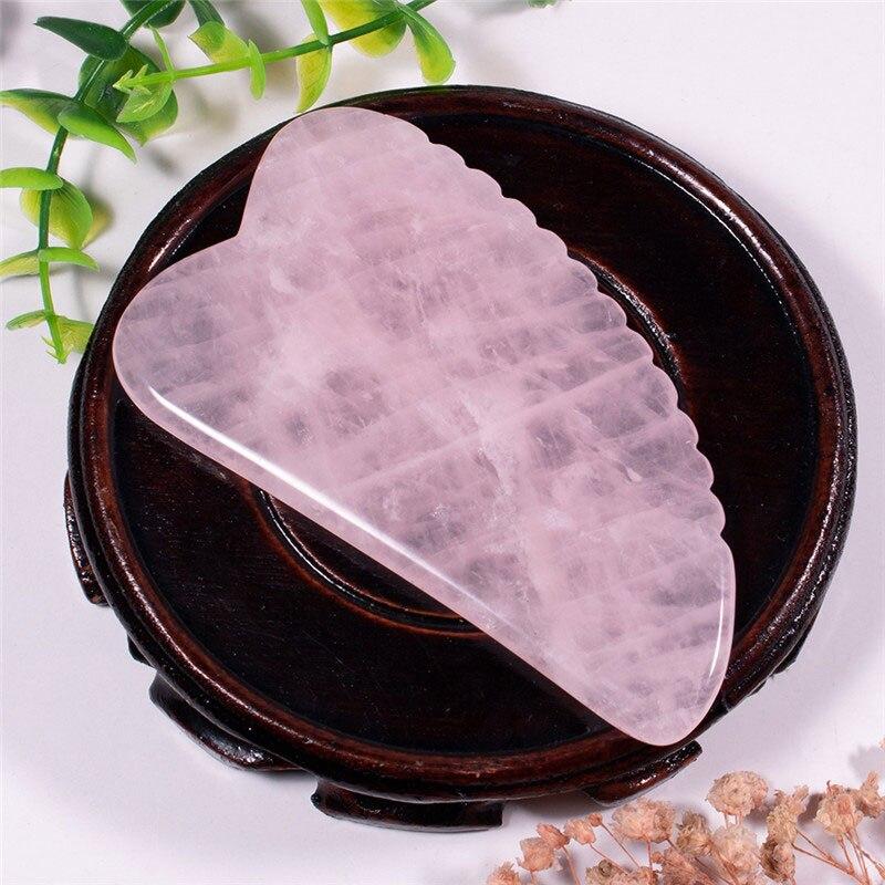 Masaje de piedra Natural rosa cuarzo Gua Sha rascador de dientes rascador facial masajeador Gua Sha tabla masajeador corporal o cuello