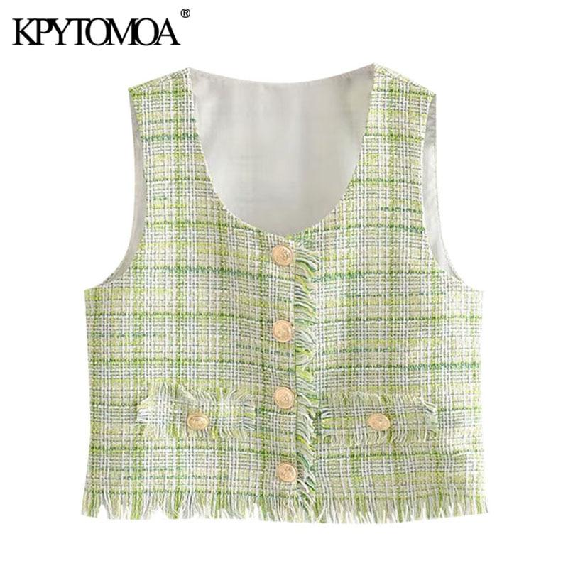 KPYTOMOA mujeres 2020 dulce moda flecos deshilachados Tweed Plaid chaleco Vintage V cuello sin mangas mujer chaleco prendas de abrigo Chic Tops