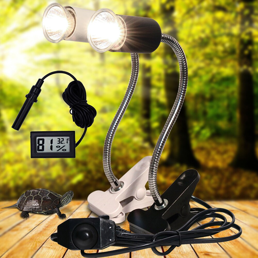 UVA+UVB 3.0 Reptile lamp Set with Clip-on Bulb Lamp Holder and Thermometer Hygrometer Turtle Tortois