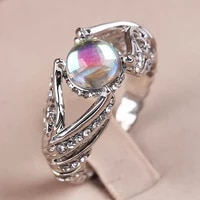 fashion moonstone wedding rings for women exquisite pattern hollow silver color rings for women elegant wedding jewelry o3m425