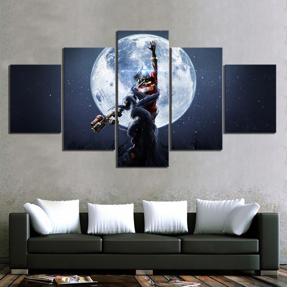 HD lienzo impreso pinturas decoración del hogar 5 Panel presa Mooncrash de juego para pared imagen Modular artística moderna pósteres clásicos Marco de dormitorio