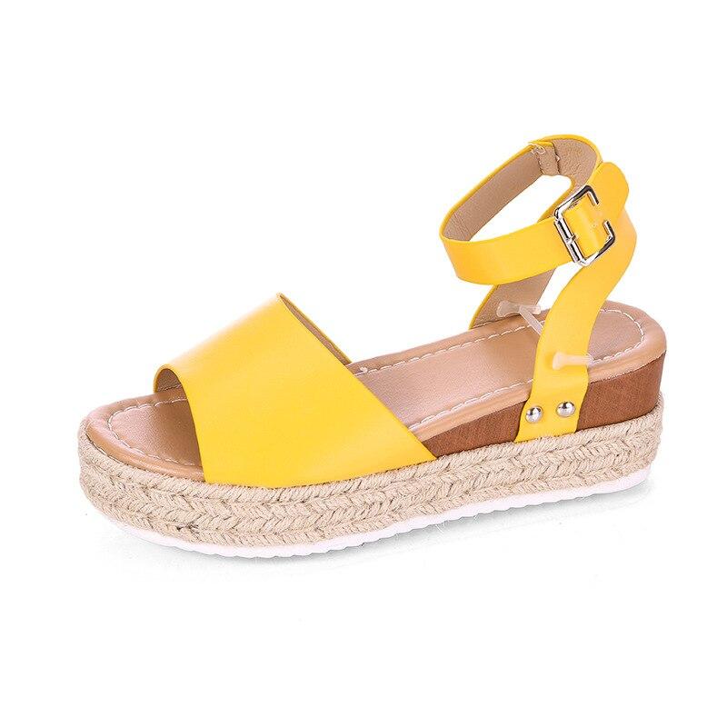 Летние женские желтые туфли с широко открытым носком Ремешок на щиколотке сандалии на платформе, женские размера плюс Chaussures; Большие размеры, в стиле панк, обувь на не сужающемся книзу массивном каблуке; Zapatillas Mujer Новый