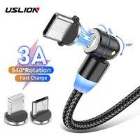 Магнитный кабель USLION с поворотом на 540 градусов, 3A, магнитное зарядное устройство для быстрой зарядки, Micro USB Тип C, светодиодный кабель для ...