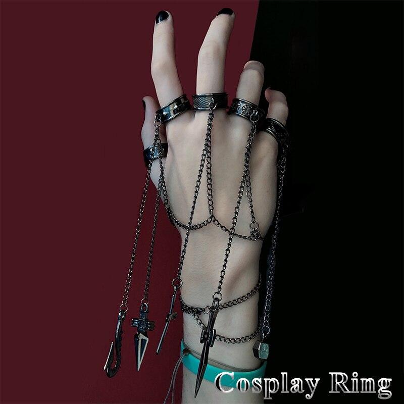 Fashion Cartoon Hunter x Saber Kurapika  Costume Prop Metal Ring Accessories Alloy Chain Mens Rings For Women Gift