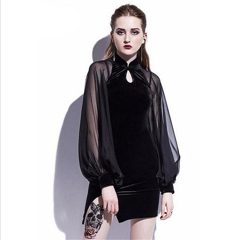 2019 Autumn Winter Chinese Retro Gothic Black Velvet Sexy Dress Button Stand Collar Sexy Mesh Long Sleeve Bag Hip Split Female