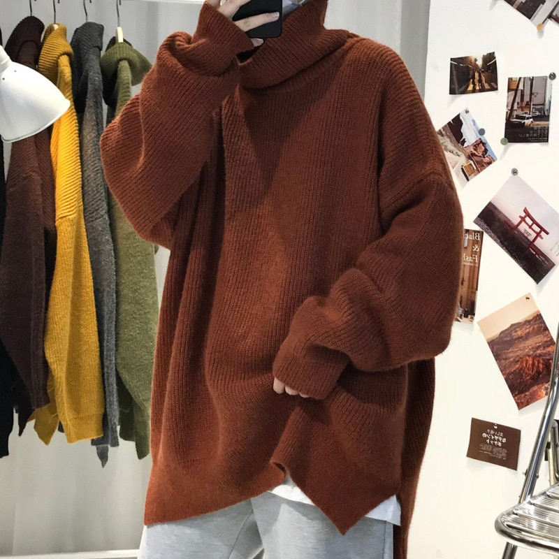 Winter Thick Turtleneck Sweater Men's Warm Fashion Casual Retro Knitted Pullover Men Loose Korean Oversize Sweaters Mens Clothes