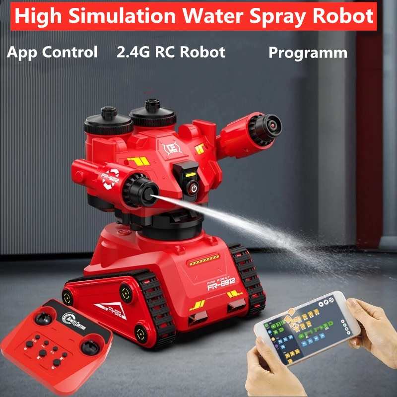 2.4G Remote Control Water Spray Robot With Simualtion Fire Fighting Music Light Phone Control Robot Programm Arm Rotation RC Toy