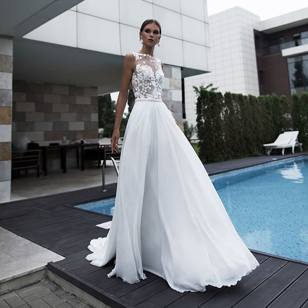 Promo Bohemian Slit Long Train Chiffon Wedding Dress For Bride Beach Illusion Tulle With Pearl Sashes Applique Sexy Bridal Gown A