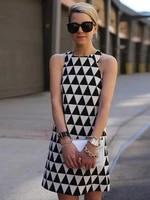 summer new fashion sexy lady dress sleeveless triangle black and white print mini dress