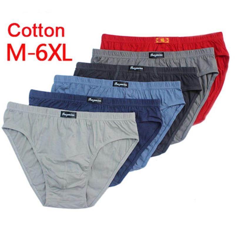 Мужские трусы брифы из 100% хлопка, мужское нижнее белье, трусы 5XL/6XL, Мужские дышащие трусы, однотонные сексуальные удобные шорты