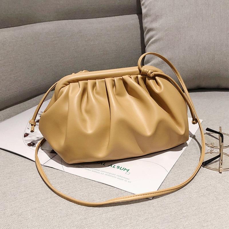 Korean Shoulder Bag Women Leather 2020 Portable Cloud Pack Fashion Nip Bag  Female Luxury Bag Fold Summer French Underarm Bag