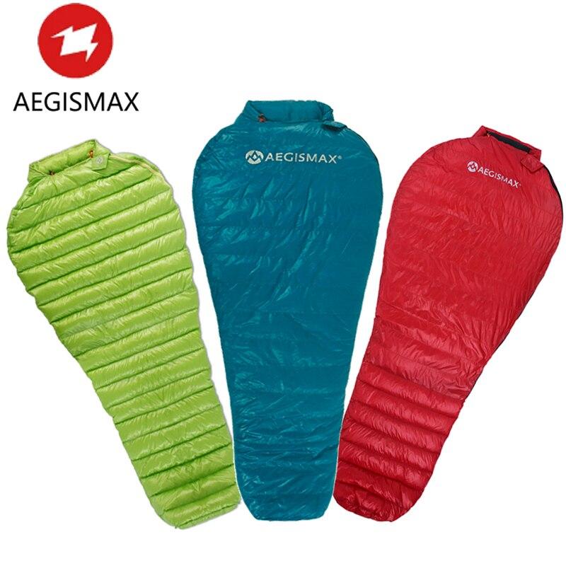 HOT AEGISMAX Nano Adult Ultra-Light Sleeping Bag Camping Outdoor Waterproof Nylon Mummy 3 Season Goose Down Sleeping Bag