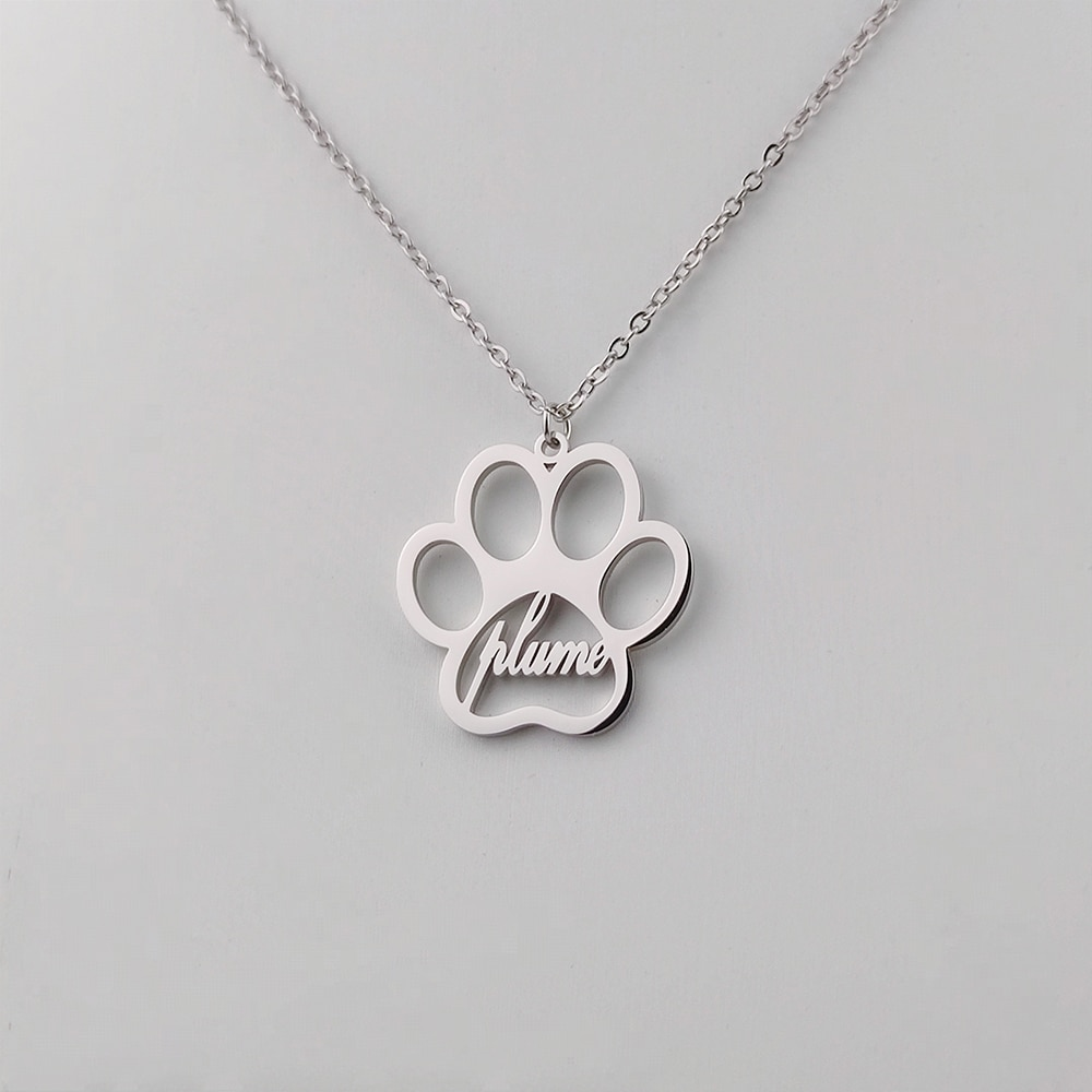 316l stainless steel animal paw charm necklace gold silver tone hollow out lovely cat dog print paw pendant long chain necklace Sherman Personalized Name Necklace Dog Paw Necklace Personalized Dog Necklace Paw Print Initial Bone Pet Charm Jewelry Gift