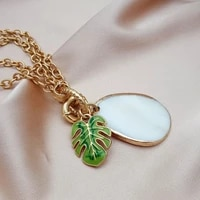mini street style europe and the united states wind ornaments multi layer metal chain no matter brand drops oil green leaf neckl