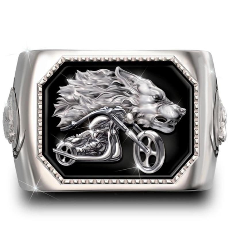 Retro  Viking Wolf Head Motorcycle Ring Men's Fashion Personality Punk Biker Jewelry