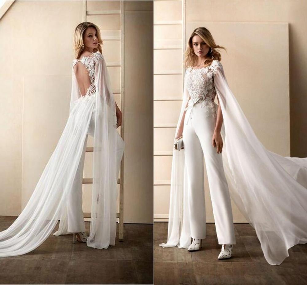2020 vestido de novia monos con envoltura joya cuello Floral apliques vestidos de novia traje pantalón espalda abierta Abiti Da Sposa