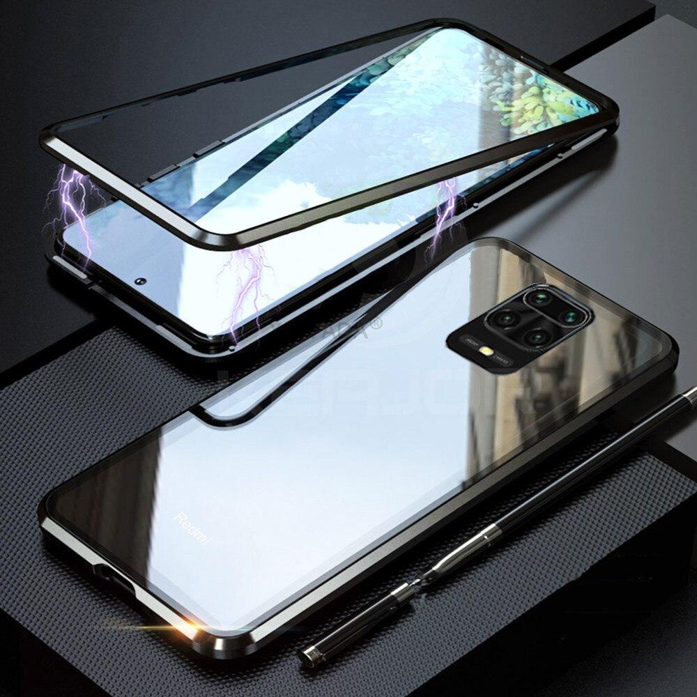 Dupla face magnética 360 proteger caso para xiaomi redmi nota 9 9s pro nota máxima 8 pro 8t 8a k20 10 9t vidro temperado metal capa