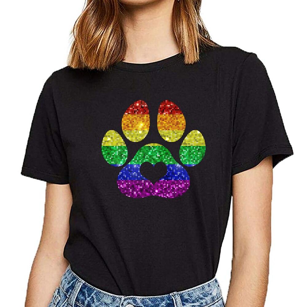 Camisetas para mujer Arco Iris pata impresa de perro pata Orgullo Gay LGBT Vogue Vintage imprimir camiseta femenina