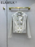 luxury 100 sheepskin jackets for women high end brand 3d cut stand collar black leather jackets slim white jackets autumn 2021