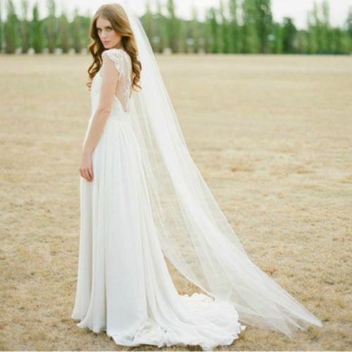 Дешевая вуаль для вальса, обрезанная кромка, белая Длинная фата для невесты, один слой, свадебная фата с гребнем, винтажная Фата для свадебной вечеринки