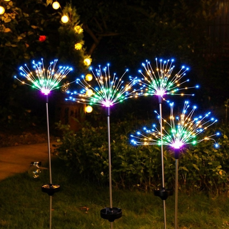 Solar Powered Outdoor Grass Globe Dandelion Fireworks Lamp Flash String 90 /120/150 LED For Garden Lawn Landscape Holiday Light enlarge