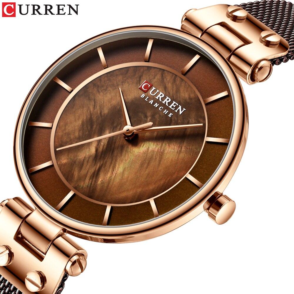 CURREN 2019 Women's Watches Fashion Ladies Watches Casual Stainless Steel Band Quartz Wristwatch Women Clock  bayan kol saati
