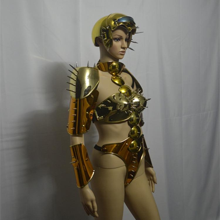 Sexy armadura espacio mostrar la tecnología del futuro espejo dorado robot traje de las mujeres escenario de pasarela lleva rendimiento mono traje de DJ