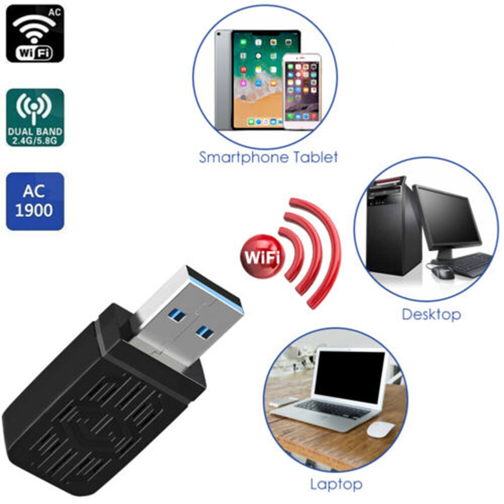 Nuevo adaptador inalámbrico AC1200 Mbps de WiFi USB Dongle USB 3,0 Tarjeta...