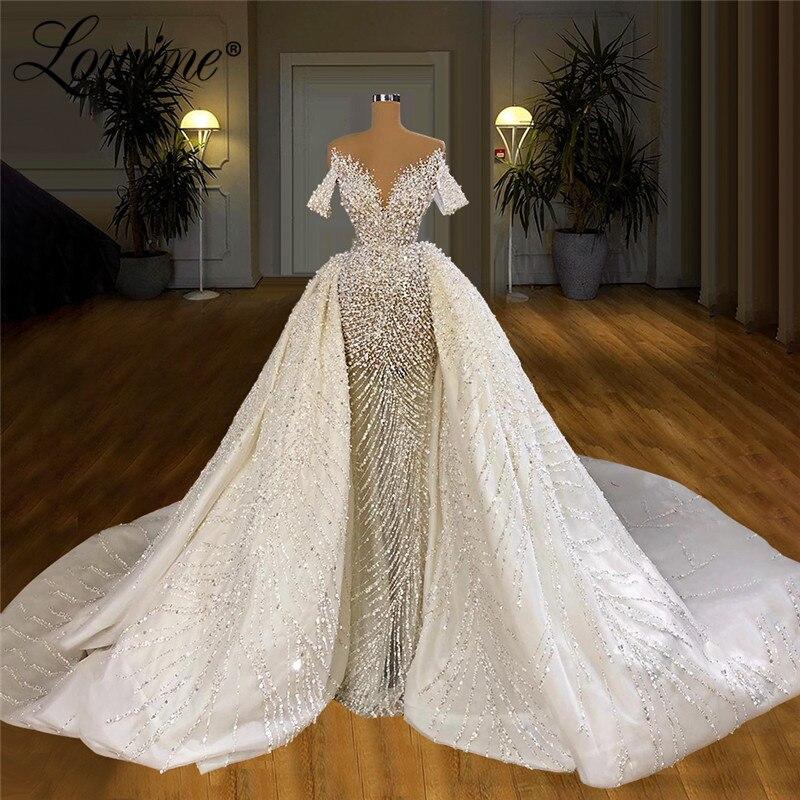 فستان زفاف طويل كوتور ، صناعة يدوية ، مرصع بالكريستال ، فستان زفاف مسلم ، دبي ، مجموعة جديدة 2021