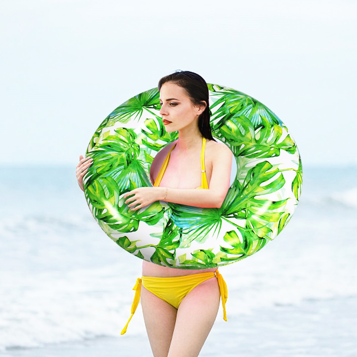 90cm Green Leaf Pool Float Inflatable Circle Swimming Ring for Kids Adult Floating Seat Summer Beach Party Pool Toys