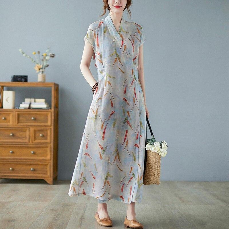 السيدات أنيقة ألف خط فستان طويل جديد وصول 2021 الصيف خمر نمط الخامس الرقبة طباعة فضفاضة النساء القطن الكتان فساتين غير رسمية B670
