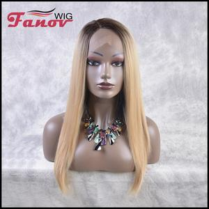 Fanov Wig Lace Long Straight Synthetic Wig for Women Natural Density Ombre Blonde Wig Heat Resistant Fiber Hair Wig