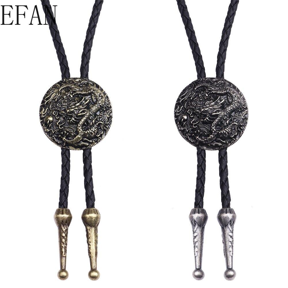 Collar de corbata Bolo estilo étnico hombres mujeres Bolo corbatas plata dragón chino collar de cuero largo collar suéter cadena colgante