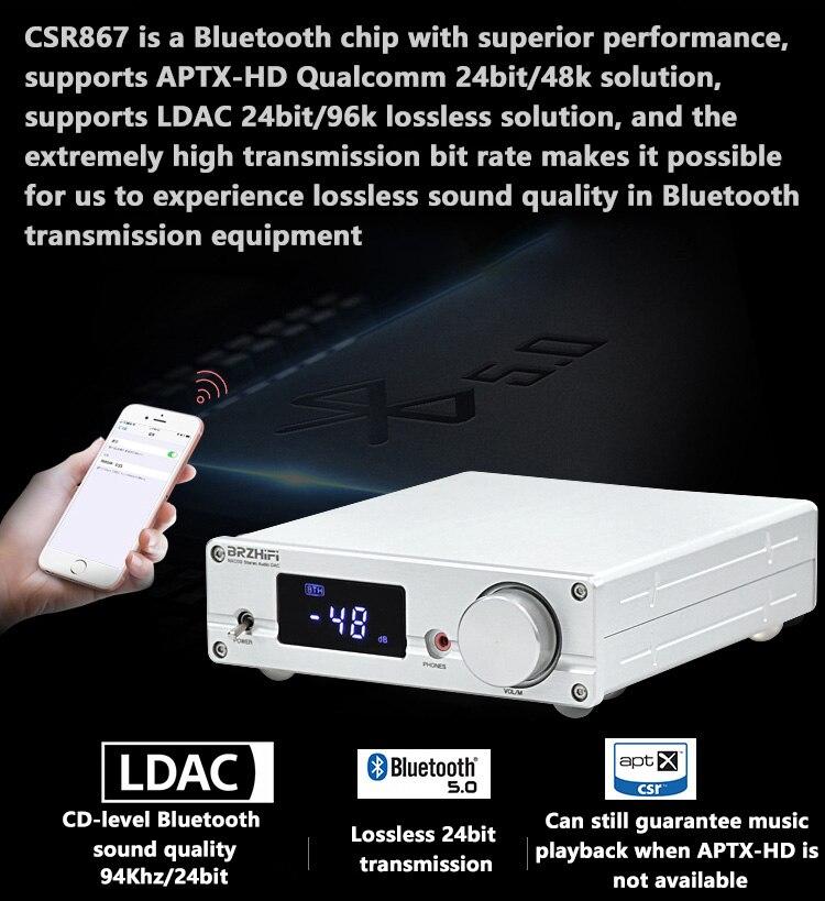 BRZHIFI DAC AKM4499EQ الرقمية محلل شفرة سمعي بلوتوث 5.0 CSR8675 Amanero USB DSD512 PCM384kHz/32Bit مرحبا فاي LDAC APTX-HD فك