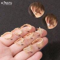 hongtu 1pc copper crystal ear cuffs for women wrap cuff clip on earrings no pierce earrings fake earring piercing jewellery 2020