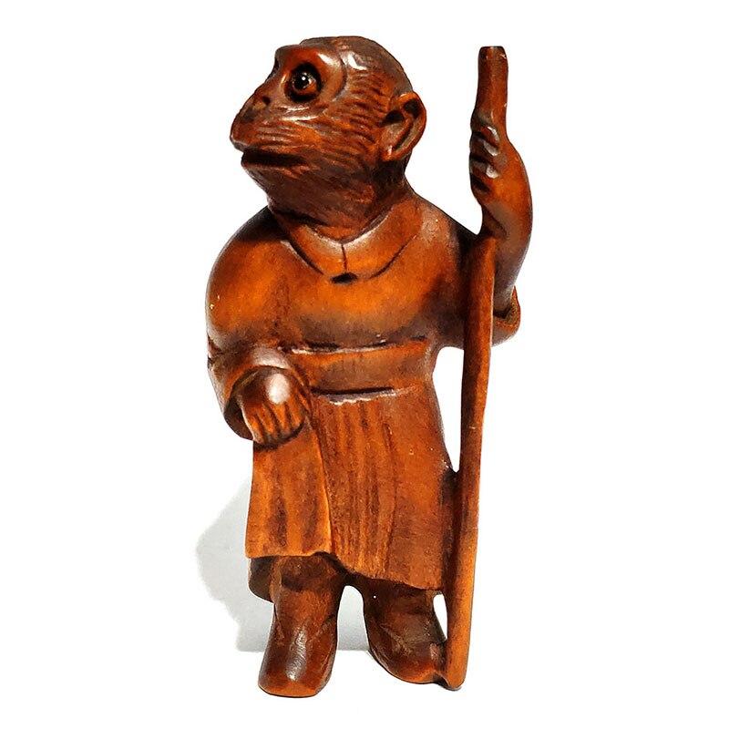 Macaco com Vara Esculpida Japonês Boxwood Netsuke Estatueta Escultura: Y6170 – 2 Mão
