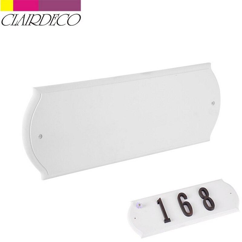 Placa de dirección blanca Rectangular, placa de número de puerta de jardín, placa de número de casa, placa con indicaciones para exteriores, pino y casa espumosa